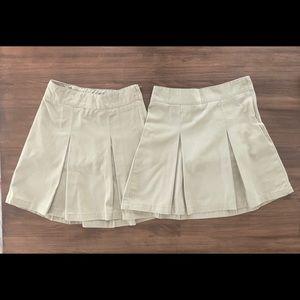 2 Girls Khaki Uniform Skirts/Skorts Size 6x-7
